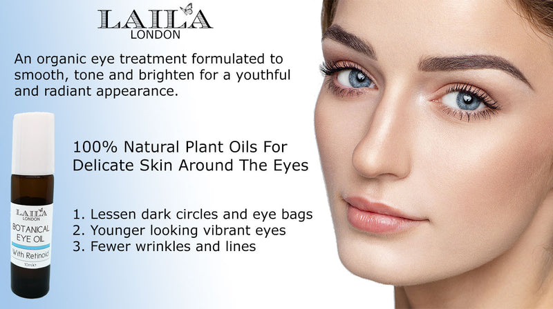 NEW Laila London Retinoid Intense Eye Oil 100% Natural and Organic Remove Dark Circles