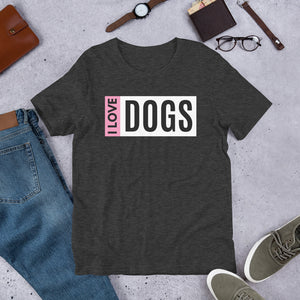 I Love Dogs Colorblock Tee (Unisex)