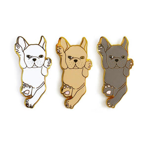 French Bulldog White Enamel Pin