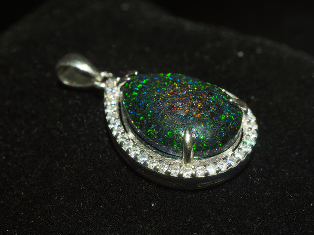 Andamooka Black Opal Pendant Sterling Silver with Zircon - kaiasparksdesigns