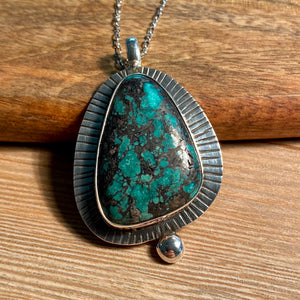 Tibetan Turquoise Necklace, Natural Turquoise Matrix Pendant, Genuine Turquoise Jewelry, Sterling Silver, Navajo Style Unisex Gifts - kaiasparksdesigns