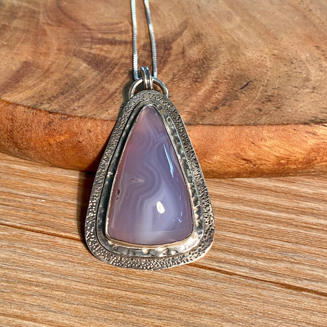 Blue Chalcedony Pendant Sterling Silver - kaiasparksdesigns