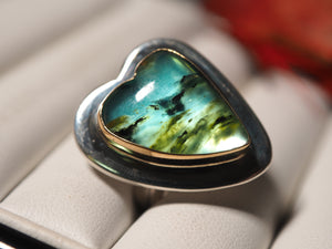 Blue Peruvian Opal 18k gold 925 sterling silver ring size 7 size 7.25 R0482 - kaiasparksdesigns