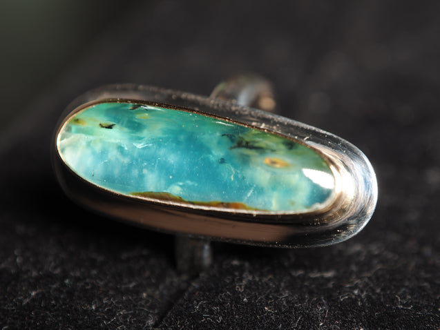 Gem Blue Peruvian Opal 18k gold 925 sterling silver ring size 7 size 7.25 R0455 - kaiasparksdesigns