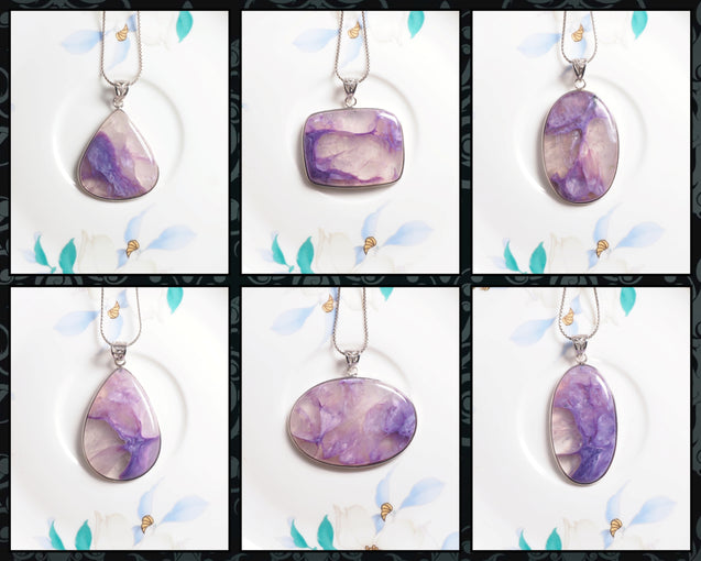Charoite in Quartz Pendant Necklace