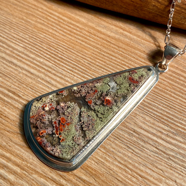 Moss Agate Pendant Sterling Silver - kaiasparksdesigns