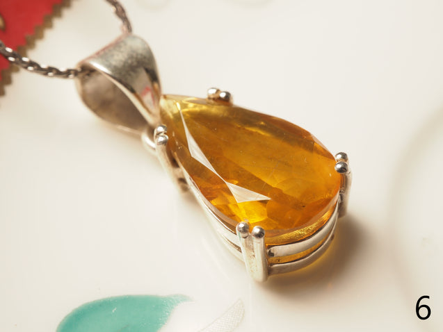 Blue Amber Pendant Sterling Silver - kaiasparksdesigns