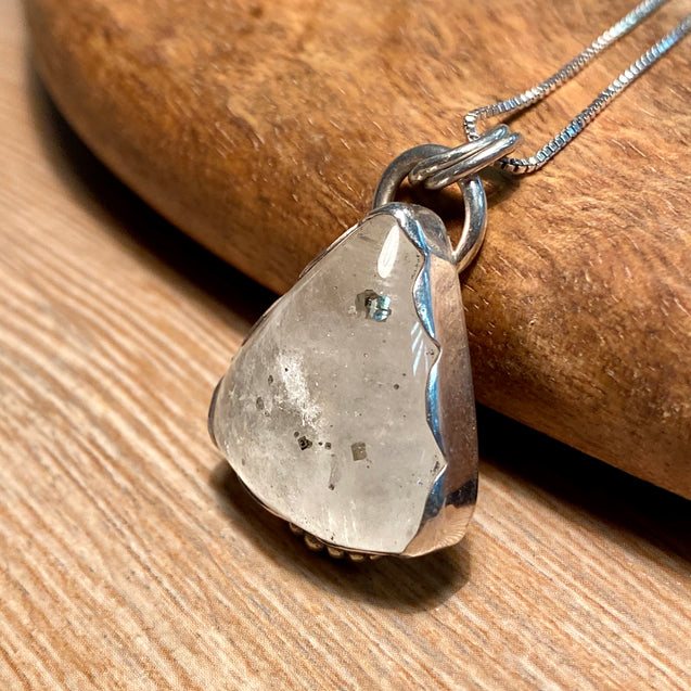 Pyrite in Quartz Pendant - kaiasparksdesigns