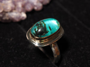 Blue Peruvian Opal 18k gold 925 sterling silver ring size 7.25 size 7.5 R0465 - kaiasparksdesigns