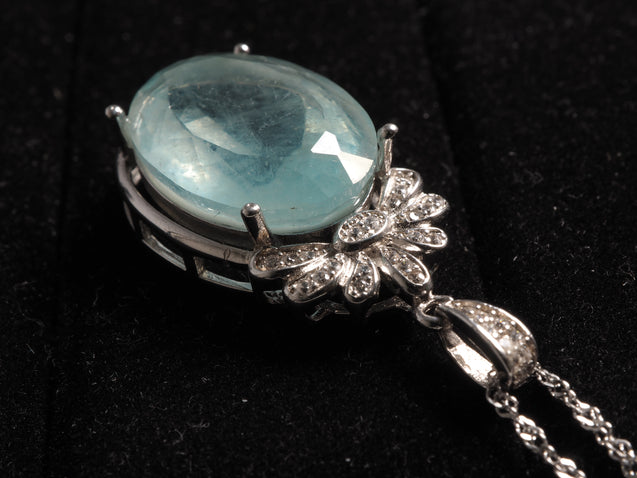 Aquamarine Pendant Sterling Silver with Zircon - kaiasparksdesigns