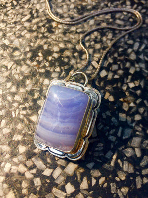 Namibian Blue Lace Agate Pendant Sterling Silver - kaiasparksdesigns
