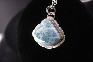 Blue Natural Larimar pendant pizza sector 925 sterling silver pendant P0125 - kaiasparksdesigns