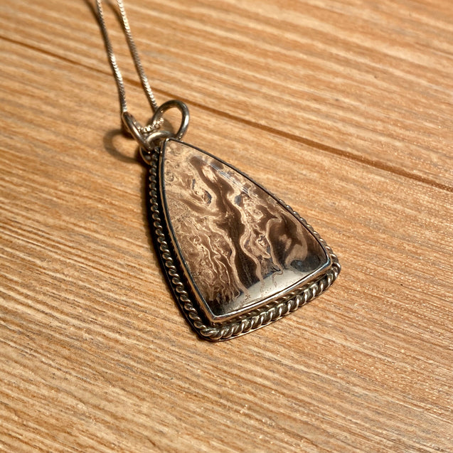 Petrified Palm Wood Pendant Sterling Silver - kaiasparksdesigns