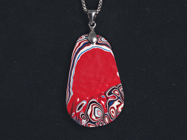 Fordite Pendant Necklace, 925 Sterling Silver, Detroit agate, Motor City agate, raw fordite, one of a kind fordite pendant, genuine real