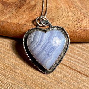 Blue Lace Agate Necklace, Namibian Agate Pendant, Natural Blue Lace Agate Jewelry, Sterling Silver, OOAK Statement Boho Unisex Gifts