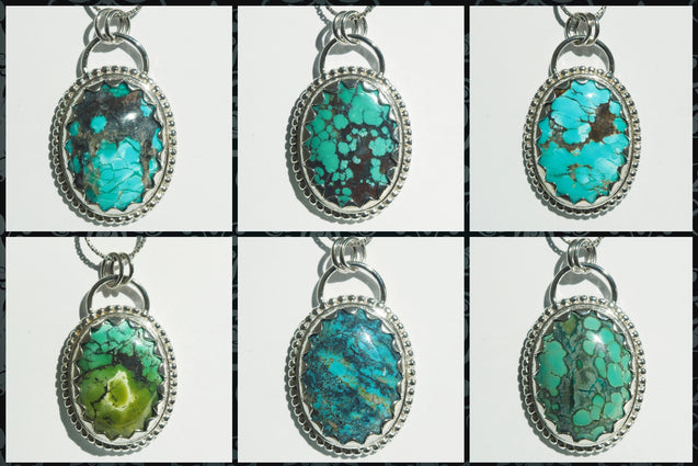 Tibetan Turquoise Pendant Sterling Silver - kaiasparksdesigns