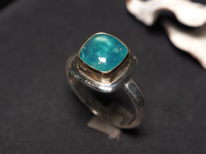 Gem Blue Peruvian Opal 18k gold 925 sterling silver ring size 7 size 7.25 R0461 - kaiasparksdesigns