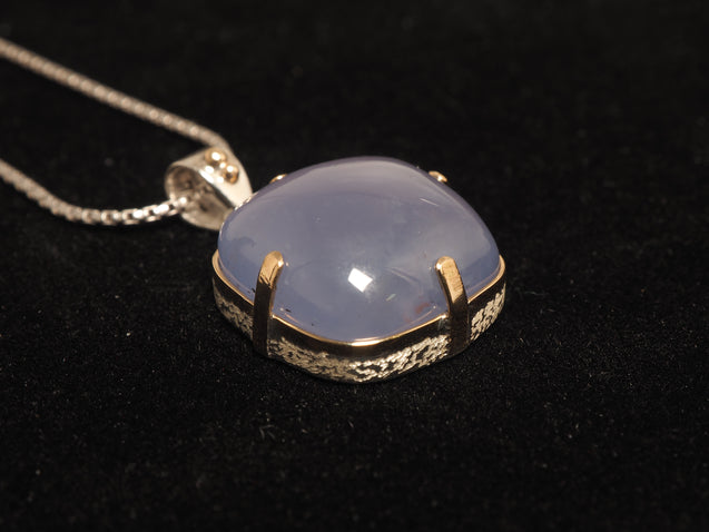Blue Chalcedony Pendant Sterling Silver with 14k/18k Gold - kaiasparksdesigns
