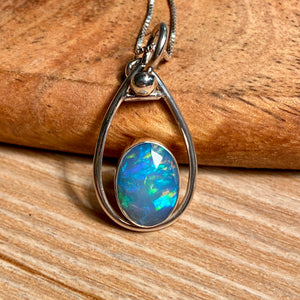 Ethiopian Welo Opal Pendant Sterling Silver - kaiasparksdesigns