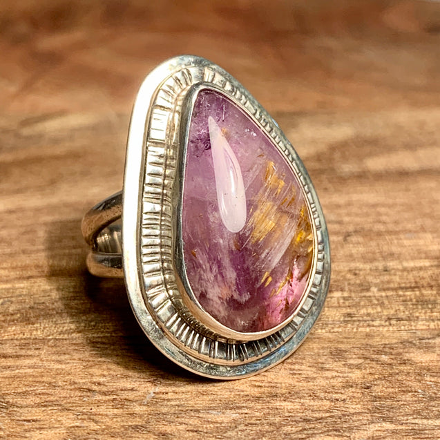 Super Seven Cacoxenite Amethyst Ring - kaiasparksdesigns