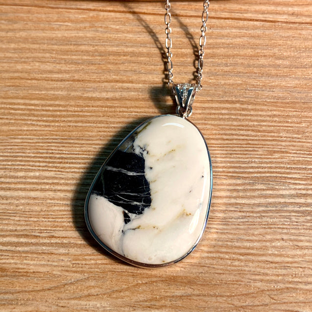 White Buffalo Turquoise Pendant Sterling Silver - kaiasparksdesigns