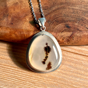Dendrite Moss Agate Pendant Sterling Silver - kaiasparksdesigns