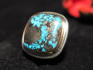 Persian Turquoise with Pyrite 18k gold 925 silver ring size 7.25 size 7.5 R0521 - kaiasparksdesigns