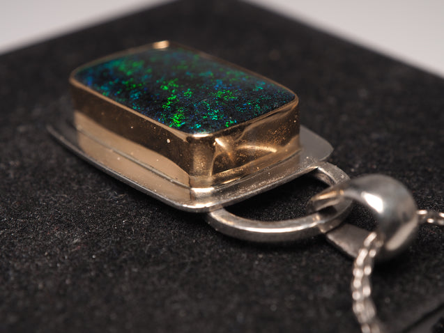 Andamooka Black Opal Pendant Sterling Silver with 14k/18k Gold - kaiasparksdesigns
