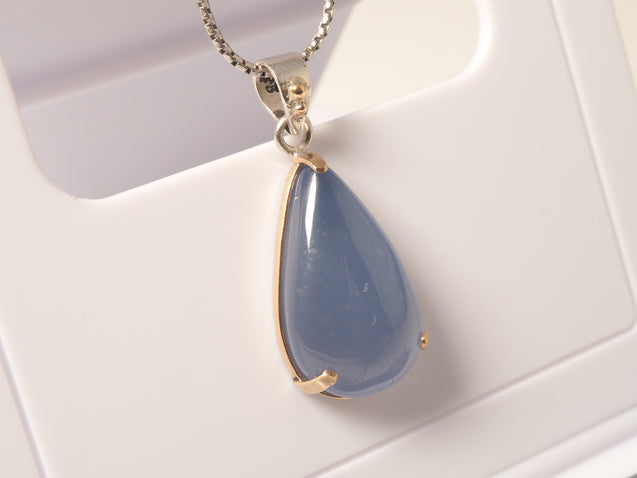 14k Gold Blue Chalcedony Pendant Necklace, 925 Sterling Silver - kaiasparksdesigns