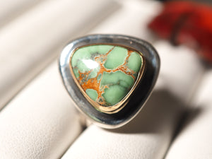 Australian Variscite 18k gold 925 sterling silver ring size 7.25 size 7.5 R0516 - kaiasparksdesigns