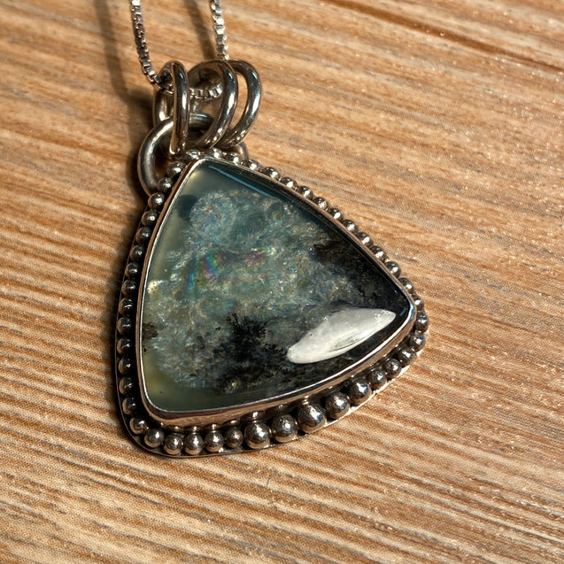 Peruvian Blue Opal Pendant Sterling Silver - kaiasparksdesigns