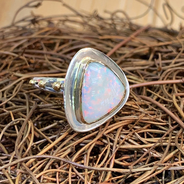 Gemmy Australian Crystal Pipe Opal 18k gold sterling silver ring one of a kind gemstone unique elegant jewelry size 8 size 8.25 R0086 - kaiasparksdesigns