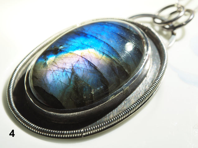 Labradorite Pendant Necklace, 925 Sterling Silver