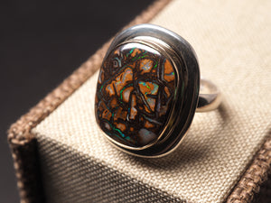 Persian Turquoise with pyrite 925 sterling silver ring irregular shape R0073 - kaiasparksdesigns