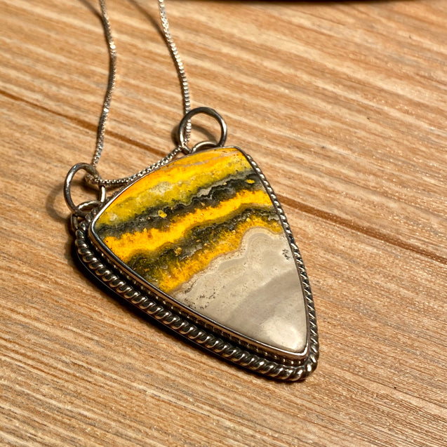 Bumble Bee Jasper Pendant Sterling Silver - kaiasparksdesigns