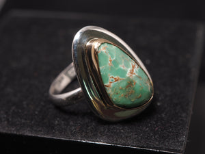 Green Australian Variscite irregular egg oval 18k gold 925 sterling silver ring jade green gemstone unique rare jewelry size 7 1/4 US R0285 - kaiasparksdesigns