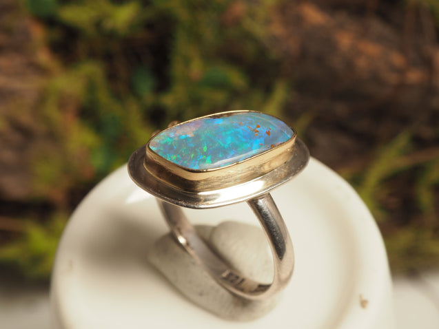 18k Gold Crystal Pipe Opal Ring - kaiasparksdesigns