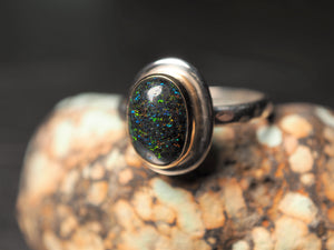 Australian Black Opal 18k gold 925 sterling silver ring size 7 size 7.25 R0460 - kaiasparksdesigns