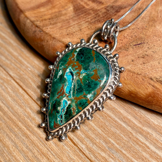 Chrysocolla Druzy Pendant Sterling Silver - kaiasparksdesigns