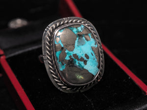 Persian turquoise with pyrite sterling silver ring size 7 R0360 - kaiasparksdesigns