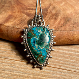 Chrysocolla Druzy Necklace, Green Druzy Pendant, Natural Chrysocolla Jewelry, Sterling Silver, OOAK Unique Statement Gifts