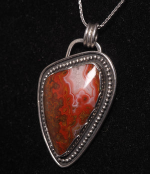 Moroccan Seam Agate Pendant Sterling Silver - kaiasparksdesigns