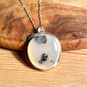 Dendritic Moss Agate Pendant Sterling Silver - kaiasparksdesigns