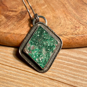Russian Uvarovite Necklace, Green Garnet Druzy Pendant, 925 Sterling Silver, OOAK Statement Boho For Her Unisex Gifts