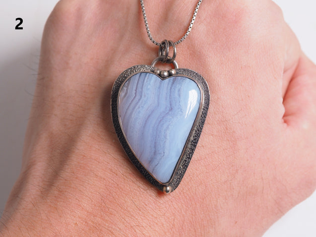 Blue Lace Agate Pendant Necklace, Sterling Silver, Blue Chalcedony Pendant Necklace