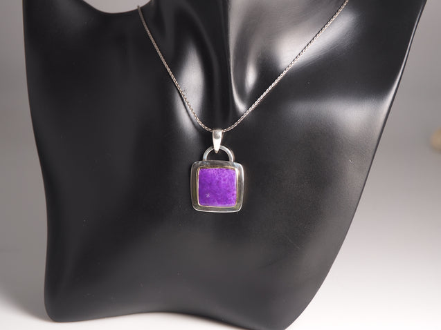 Sugilite Pendant Sterling Silver with 14k/18k Gold - kaiasparksdesigns