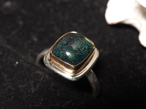 Australian Black Opal 18k gold 925 sterling silver ring size 7 size 7.25 R0462 - kaiasparksdesigns