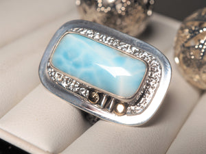 Ocean Blue Natural Larimar 18k gold 925 silver ring size 6 size 6.25 R0484 - kaiasparksdesigns