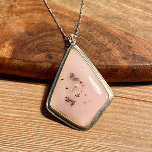 Pink Opal Pendant Sterling Silver - kaiasparksdesigns