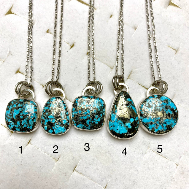 Persian Turquoise with Pyrite Pendant - kaiasparksdesigns